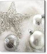 Silver Holiday Ornaments In Feathers Canvas Print