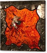 Silver Metal Flower On Orange Canvas Print