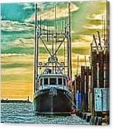 Single Fish Boat Hdr Canvas Print