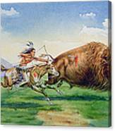 Sioux Hunting Buffalo On Decorated Pony Canvas Print