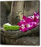 Sitting Buddha In Meditation Position With Fresh Orchid Flowers Canvas Print