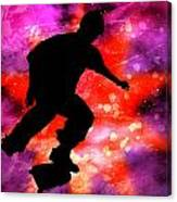Skateboarder In Cosmic Clouds Canvas Print