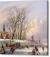 Skaters On A Frozen River Before Windmills Canvas Print