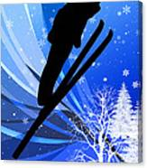 Ski Jumping In The Snow Canvas Print