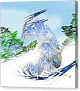 Ski Sledding Blue Polar Bear Canvas Print