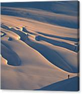 Skier And Crevasse Patterns At Sunset Canvas Print