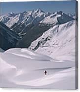 Skier Phil Atkinson Heads Down Mount Canvas Print