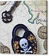 Skull And Cross Bones Lock Canvas Print