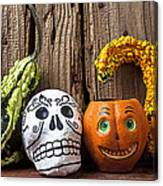 Skull And Jack-o-lantern Canvas Print