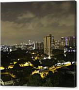 Skyline Of A Part Of Singapore At Night Canvas Print