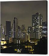 Skyline Of Singapore At Night As Seen From An Apartment Complex Canvas Print
