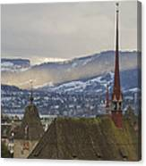 Skyline Of Zurich From The University Canvas Print