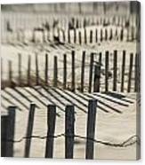 Slats Of Wooden Fence Throwing Shadows Canvas Print