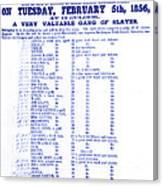 Slave Auction Notice Canvas Print