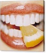 Slice Of Lemon Between Teeth Canvas Print