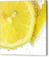 Sliced Lemon In Fizzy Water Canvas Print