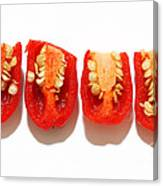 Sliced Red Peppers Canvas Print