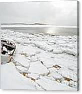 Small Boat Sits On Ice Chuncks In Wellfleet On Cape Cod In Winte Canvas Print
