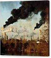 Smoke Billows From The Exxon Oil Canvas Print