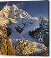 Snow Blowing From Summit Ridge Of Mount Canvas Print