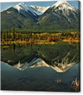 Snow Covered Peaks Of Canadian Rockies Canvas Print