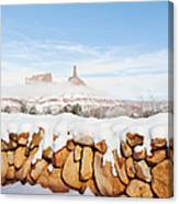 Snow Covered Rock Wall Canvas Print
