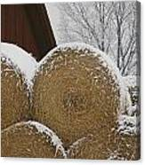 Snow Dusts Rolls Of Hay Canvas Print