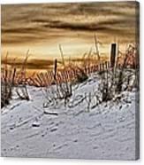 Snow Fence On Horizon Canvas Print