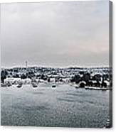 snow in port mahon - A very rare image of a mediterranean villa sided to sea covered of white Canvas Print