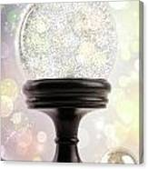 Snowglobe With Ornaments Against Colored Background Canvas Print