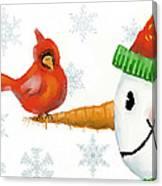 Snowman And The Cardinal Canvas Print