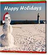 Snowman With Santa Hat Canvas Print
