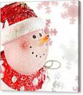 Snowman With Snowflakes  Canvas Print