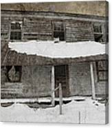 Snowy Abandoned Homestead Porch Canvas Print