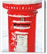 Snowy Pillar Box Canvas Print