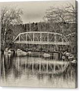 Snyder Road Bridge At Green Lane Park In Sepia Canvas Print