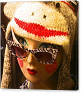 Sock Monkey Zebra Glasses Canvas Print