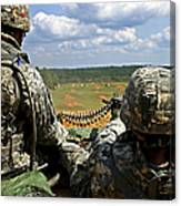 Soldier Feeds Ammunition To His Gunner Canvas Print
