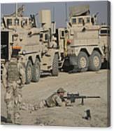 Soldier Fires A Barrett M82a1 Rifle Canvas Print