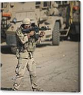 Soldier Fires A M4 Carbine Canvas Print