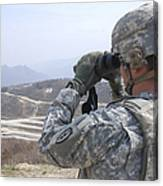 Soldier Observes An Adjust Fire Mission Canvas Print