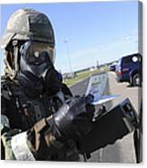 Soldier Uses An M256 Kit To Identify Canvas Print