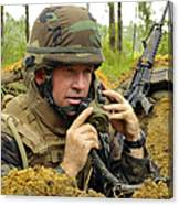 Soldier Using A Ta-1 Sound Powered Canvas Print