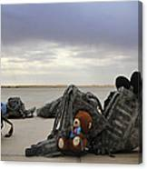Soldiers Backpacks On The Flight Line Canvas Print