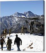 Soldiers Board A U.s. Army Uh-60 Black Canvas Print