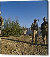 Soldiers Discuss A Strategic Plan Canvas Print