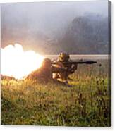 Soldiers Fire A Rocket Propelled Canvas Print