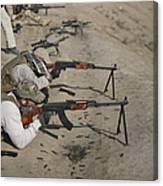 Soldiers Fire A Russian Rpk Kalashnikov Canvas Print