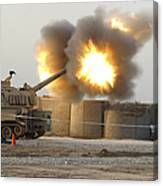 Soldiers Fire The Howitzers Canvas Print