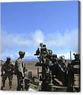 Soldiers Firing The M777 Howitzer Canvas Print